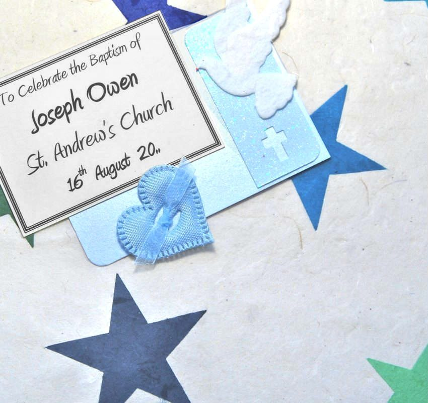 Blue Applique Stars Christening Keepsake Boxes and Chests