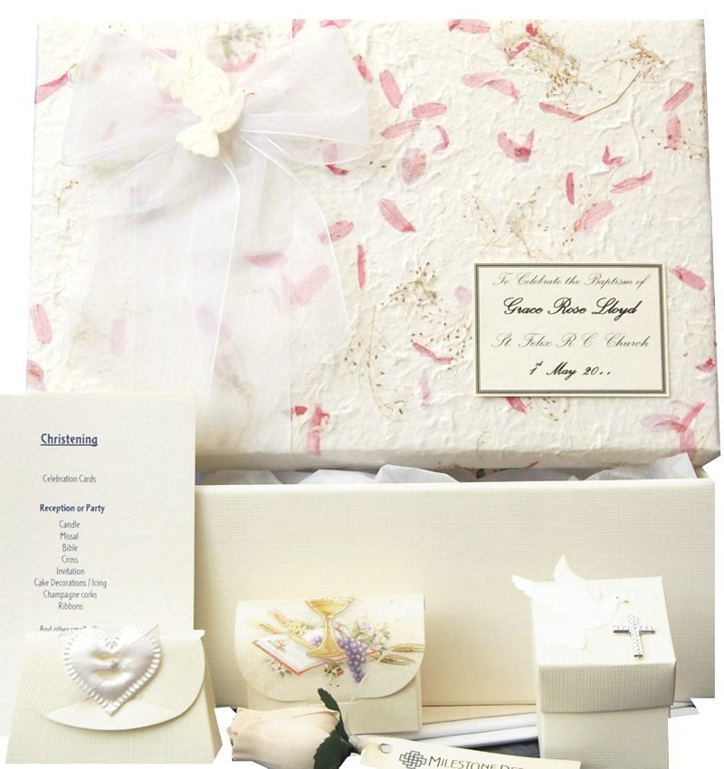 Pink Petals and Grasses Baptism Memory Keepsake Box
