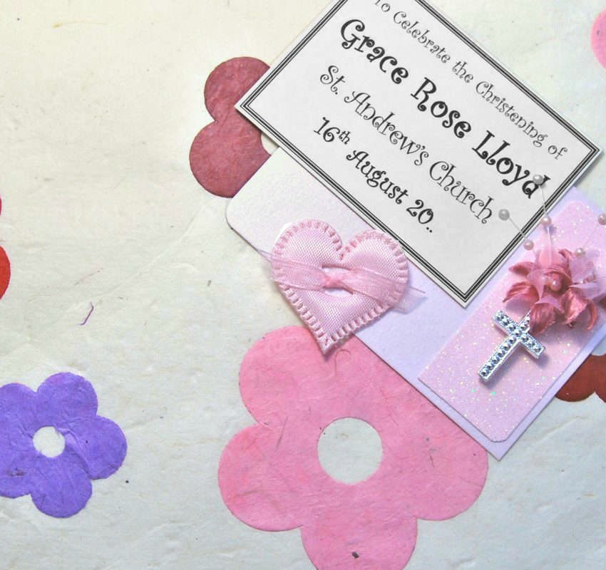 Pink Applique Daisies Christening Keepsake Boxes and Chests