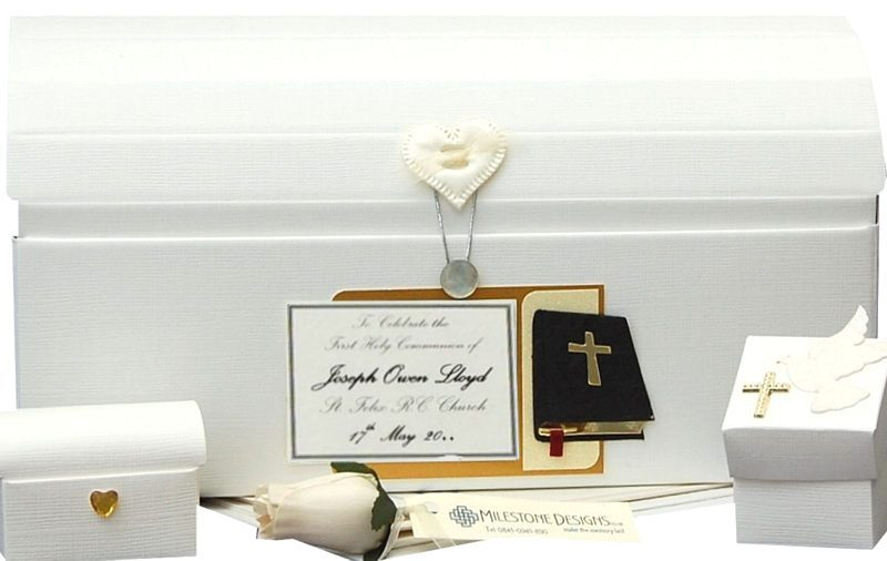 Black Bible Simple Linen Christening Memory Keepsake Chest