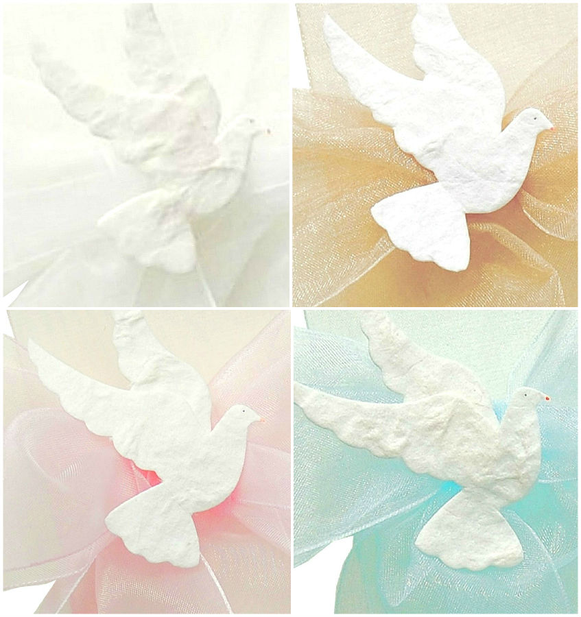 Personalised Holy Communion or Confirmation Organza Bow & Dove